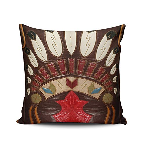 MUKPU Fashion Home Decoration Design Throw Pillow Case Brown and Red Western Style Leather Look 24X24 Inch Square Custom Pillowcase Cushion Cover Double Sided Printed (Set of 1)