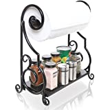 Decorative Black Metal Scrollwork Design Freestanding Kitchen Paper Towel Bar Rack with Condiment Shelf
