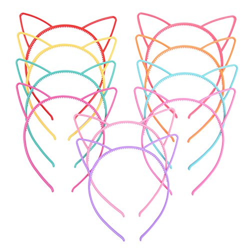 Kitty Ear Headband (eBoot Cat Ear Headbands Plastic Cat Hairband Cat Bow Hairbands Makeup Party Headwear for Women Girls, Multicolor, 10 Pieces)