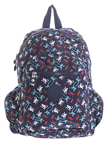 Big Handbag Shop Unisex Lightweight Rainproof Fabric Backpack Rucksack in Various Sizes Backpack Style 2 - Blue Monkey