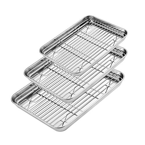 KEDSUM Baking Sheet with Rack Set [3 Sets], Stainless Steel Cookie Sheet with Nonstick Cooling Rack, Non Toxic & Healthy, Superior Mirror Finish & Easy Clean, Oven & Dishwasher Safe