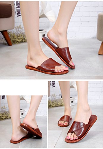 Autumn B Summer Brun Men Women Cowhide Slippers Floor Leather Anti Corium for Smelly Wooden Spring TELLW qZgxwtHZ