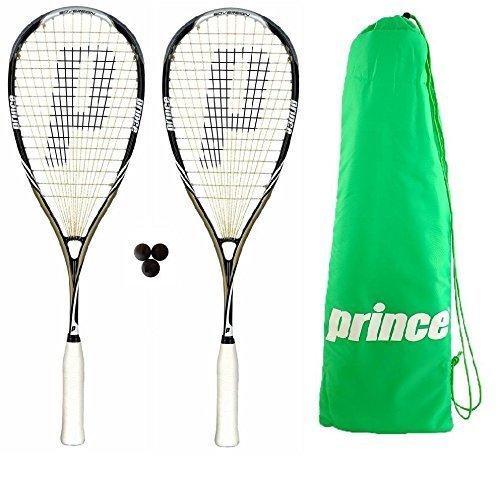 2 x Prince Pro Sovereign 650 Squash Rackets + 3 Dunlop Squash Balls + Carry Bag RRP £335