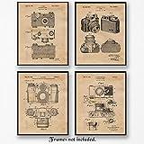 Original Classic Camera Art Poster Prints - Set of 4 (Four Photos) 8x10 Unframed - Great Wall Art Decor Gifts Under $20 for Home, Office, Garage, Man Cave, Photo Lab, School, Teacher, Photography Fan