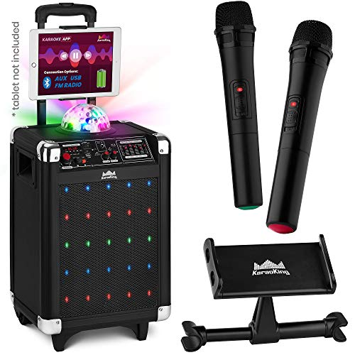 Karaoke Machine for Kids & Adults – 2019 NEW Wireless Microphone Speaker with Disco Ball, 2 Wireless Bluetooth Microphones, FREE Phone/Tablet Holder – Karaoke Bluetooth Toys for Kids by KaraoKing