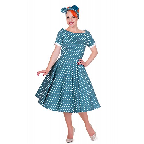 Darlene Kleid Petrol Damen Polka Dolly Dotty and Dots q1x6t6