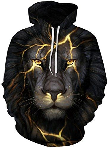 Lion Gold Amoma Cappuccio Stampa Digitale Pullover Felpa Con 3d Realistico Unisex yvOw8m0Nn