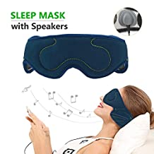 Music Sleep Mask with Stereo Speaker Wired Headphone Eye Mask, Comfortable Sleep Noise Canceling Headphones, Perfect for Air Travel, Meditation & Relaxation, Best Christmas Gifts (Navy Blue)