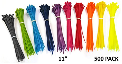"Nylon Cable Ties - 11"" - Multi Color  - 500 Pieces"