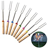 Telescopic Roasting Sticks 32 Inch Extendable Hot Dog Forks 8 Pieces Stainless Steel BBQ Forks Skewers Grill Forks for outdoor camping parties