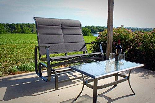 Premium Outdoor Aluminum Glider Loveseat with Padded Headrest and Coffee Table