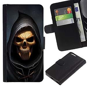 All Phone Most Case / Oferta Especial Cáscara Funda de cuero Monedero Cubierta de proteccion Caso / Wallet Case for Apple Iphone 6 PLUS 5.5 // Grim Reaper Skull