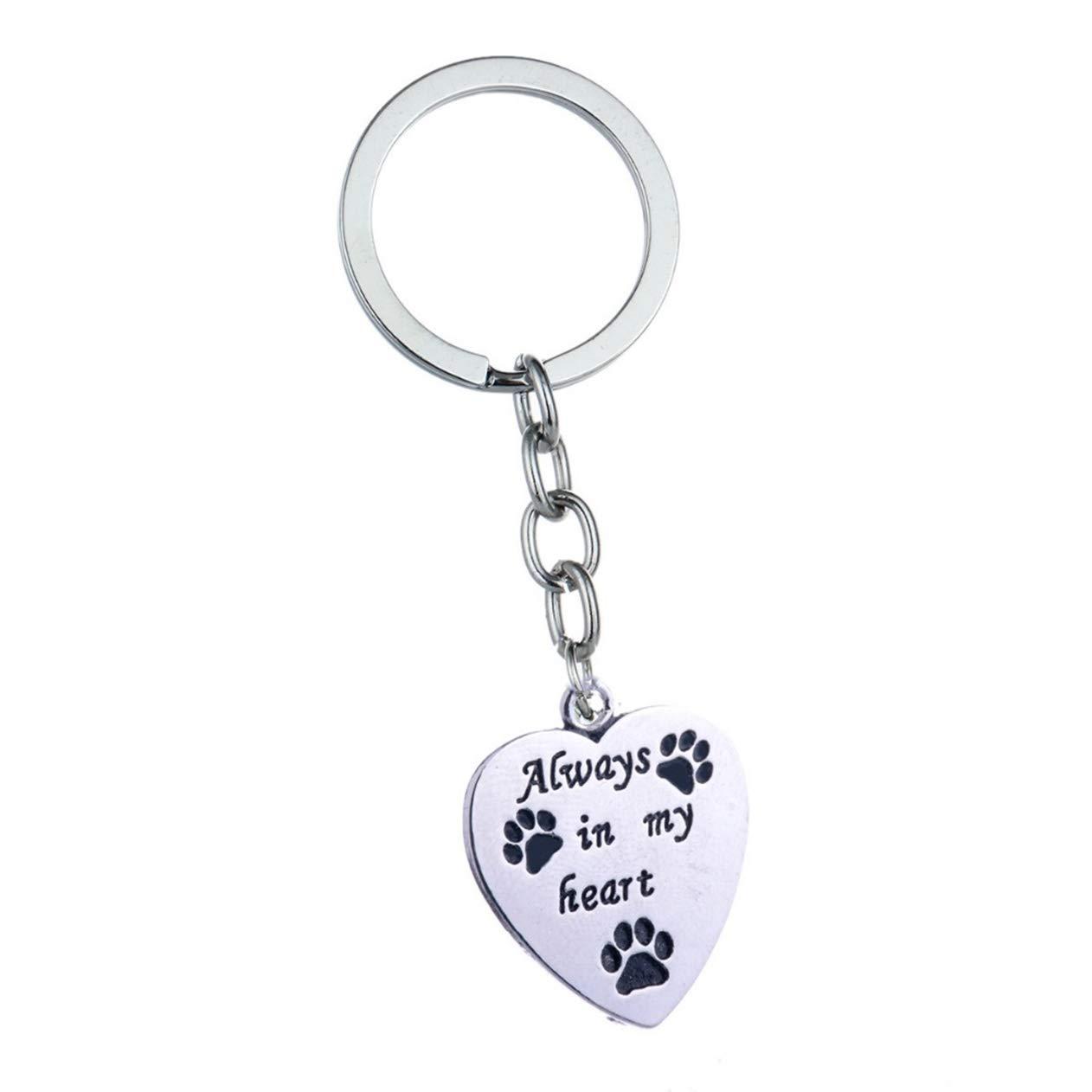1 Pc Always in My Heart Love Dog Paws Print Keychains Pendant Teen Utility Tool Bottle Opener Key Rings Famed Popular Pocket Women Bag Car Keyring