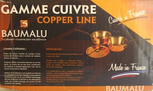 Baumalu Gamme Cuivre Copper Line 20cm Conical Saucepot, 20cm High Sided FryPan and one 20cm lid
