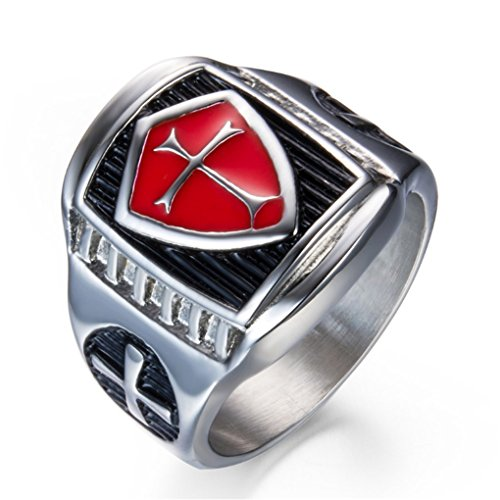 Grhose Men's Stainless Steel Ring Knight ring Templar Ring biker Crusader Cross masonic Red Size 9 ()