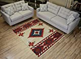 Nevita Collection Southwestern Native American Design Area Rug Rugs Geometric (Off-White, 5 x 7)