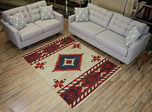 Nevita Collection Southwestern Native American Design Area Rug Rugs Geometric (Off-White, 5 x 7) ()