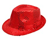 Geekbuzz Unisex Sequin Fedora Hat Colorful Bling Trilby Sequin Hat Fancy Dress for Stage Show Glitter Dance Hat Disco Hat Jazz Hat Party Costume Cap for Adult/Kids(Red, Kids)