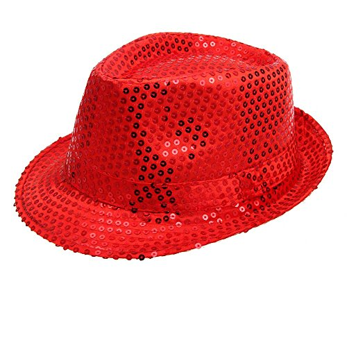 Motop Sequined Hat Dance Stage Show Performances Cap (Talla única, red) (Red Sequined Baseball Cap)