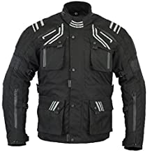 Bikers Gear GloRider Black Waterproof Breathable Motorcycle Jacket with 5 point Armour CE-1621-1 (2XL)