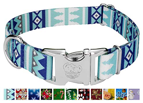 Country Brook Petz - Premium Snowy Pines Cane Dog Collar - Christmas Collection with 15 Festive Designs (1 Inch, Medium)