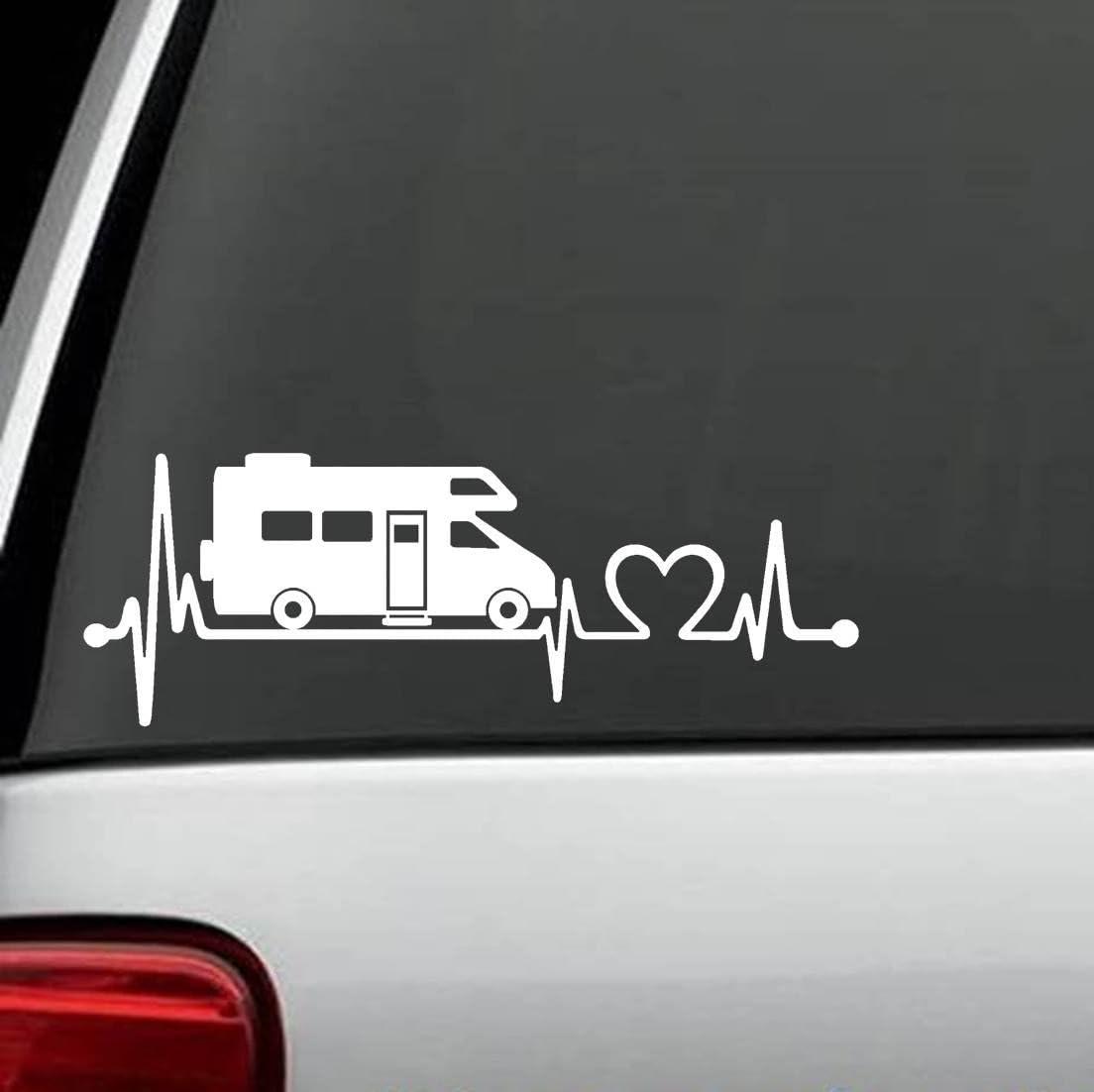 White Bluegrass Decals F1026 Camper Travel Trailer Heartbeat Lifeline Decal Sticker
