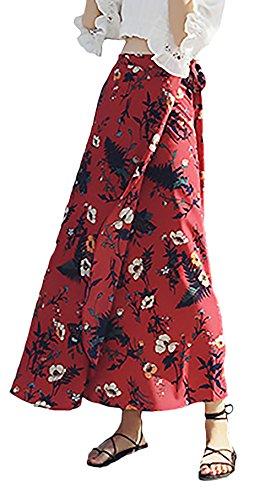 Gonne Tubino High Lunga Ragazze Fashion Waist A Modello Libero Stlie Grazioso Moda Donna Rosso Gonna Estiva Mare Eleganti Lunghe Tempo Cinghietti Fiore UYOOqS