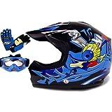 TMS Youth Kids Black/Blue Punk Dirt Bike Atv Motocross Helmet Mx+goggles+gloves (Medium)