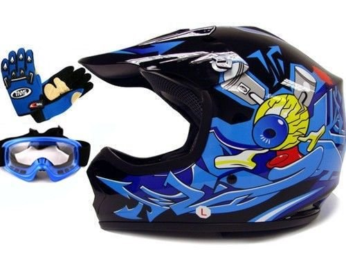 TMS Youth Kids Black/Blue Punk Dirt Bike Atv Motocross Helmet Mx+goggles+gloves (Large)