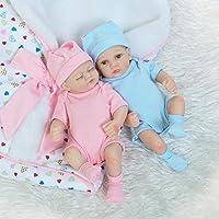 MaiDe Mini 10 inch Real Life Cute Newborn Twin Baby Dolls Sleepping Girl Full Body Silicone Reborn Dolls