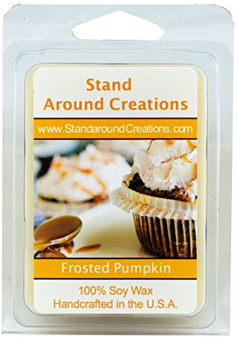 100% All Natural Soy Wax Melt Tart - Frosted Pumpkin - This fragrance begins with fresh top notes of citrusy lemon, leading to middle notes of creamy pumpkin and hints of nutmeg and ginger; sitting on base notes of maple sugar and vanilla frosting. - 3oz - Naturally Strong Scented