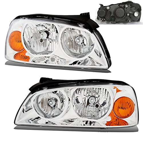 SPPC Chrome Headlights Assembly Set for Hyundai Elantra - (Pair) Includes Driver Left and Passenger Right Side Replacement Headlamp