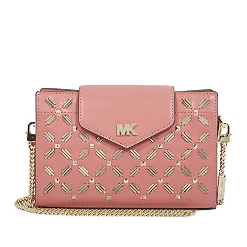 Michael Kors Medium Floral Leather Crossbody Clutch- Rose