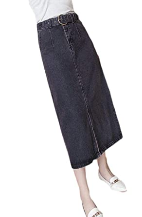 f39e233ac94 WSPLYSPJY Women s Maxi Pencil Jean Skirt High Waisted A Line Long Denim  Skirts at Amazon Women s Clothing store