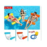2Pack/Lot Summer PVC Floating Water Hammock Float Lounger Inflatable Floating Bed Beach Swimming Pool Lounge Float Bed Chair Kids Adults (Blue+red)