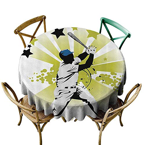 Mannwarehouse Sports Decor Restaurant Tablecloth Pitcher Hits The Ball Fast Stars All Over The Bat Speed Strong Game Motion Team Graphic Easy Care D71 White Green