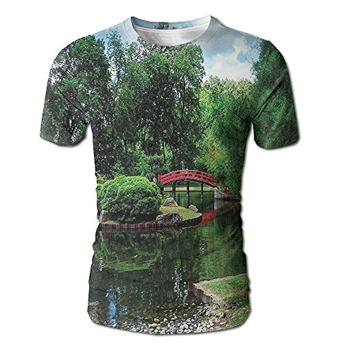 Kooiico Men's Japanese Lake With Red Bridge In Asian Gardens Trees Natural Paradise Theme Loneliness In Nature Cool T-shirts White ()