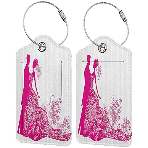 Durable luggage tag Wedding Decorations Dancing Couple Vibrant Color Silhoette Ceremony Floral Wedding Dress Unisex Magenta White W2.7