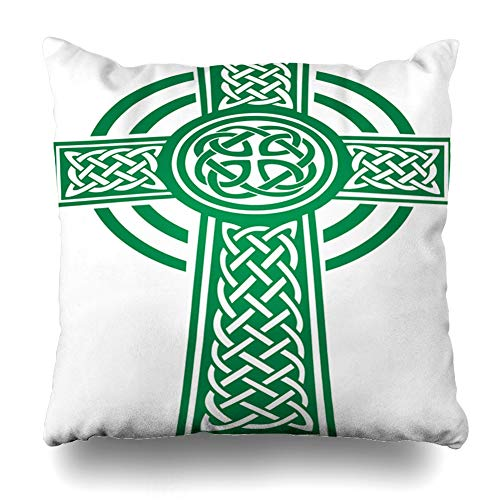 Ahawoso Throw Pillow Cover Square 22x22 Luck Irish Green Celtic Cross Details Holidays Ireland Shamrock Beer Celebration Clover Culture Design Party Zippered Cushion Pillow Case Home Decor Pillowcase