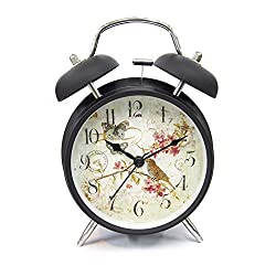 Innolife 4 Quiet Non-ticking Silent Quartz Analog Retro Vintage Bedside Twin Bell Alarm Clock With Loud Alarm and Nightlight (Butterfly & Bird with Flowers)
