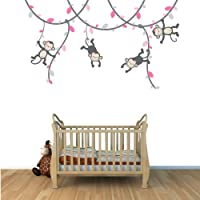Pink and Gray Monkey Wall Decal for Baby Nursery or Kid's Room, Fabric Vine D...