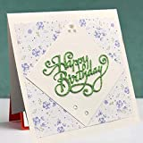 Cutting Dies Happy Birthday,Metal Die Cuts for Card Making Embossing Stencil for Scrapbooking DIY Album Paper Cards Art Craft Decoration for Mother's Day Valentine's Day