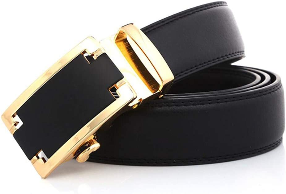 Casual,Cowboy,Business /& Work Wear Wide Fully Adjustable Mens Leather Ratchet Dress Belt with Automatic Sliding Buckle, 3.5cm