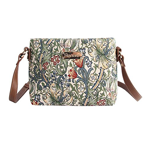Signare Women's Fashion Canvas Tapestry Mini Satchel Cross-body Purse Bag with Adjustable Strap also as Small Shoulder Bag by Designer William Morris Golden Lily (XB02-GLILY) (Tapestry Bag Satchel)