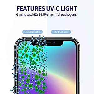 UV Light Sanitizer Box, Sterilizer for Phone Kills 99.9% of Germs Viruses & Bacteria in 6 Mins, 4 Pcs UVC Bulbs…