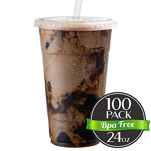 Cold Smoothie Go Cups and Lids | Iced Coffee Cups | Plastic Cups with Lids | 24 oz Cups, 100 Pack | Clear Disposable Pet Cups | Ideal for Parfait Juice Soda Cocktail Party Cups [Drinket Collection] (Travel Lid Plastic)
