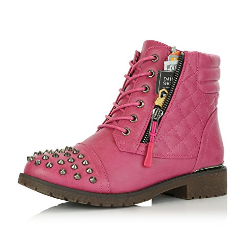 Military Stud - DailyShoes Women's Military Lace up Buckle Combat Boots Ankle High Exclusive Credit Card Pocket Frontal Metal Stud Hiking Booties, Hot Pink PU, 8 B(M) US