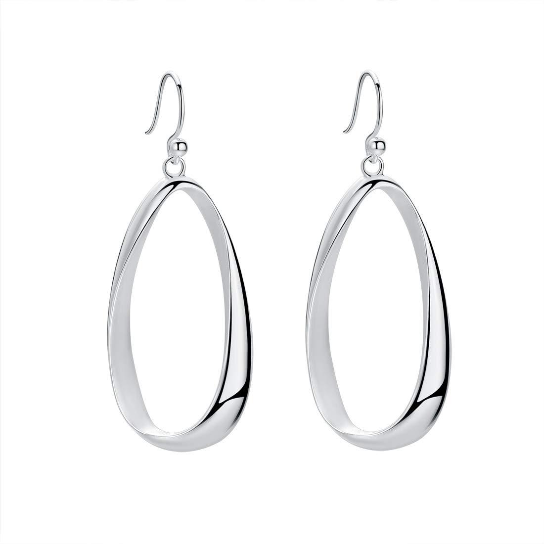 SA SILVERAGE Sterling Silver Twisted Hoop Earrings Oval Round Dangle Teardrop Earrings For Women by SA SILVERAGE-Women Earings