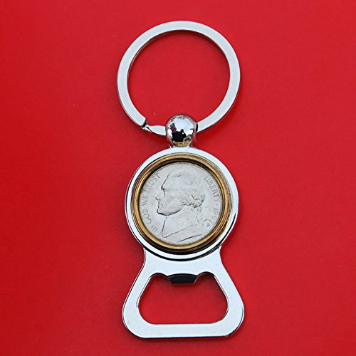US 1997 Jefferson Nickel 5 Cent BU Uncirculated Coin Gold Silver Two Tone Key Chain Ring Bottle Opener NEW
