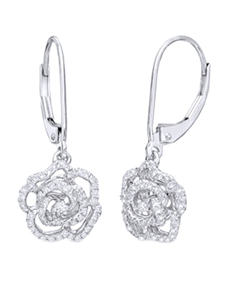 Weißszlig; natur Diamant Rosa Ohrringe in Tropfenform 14 ct 585 Massiv Weißszlig; Gold (0,33 ct) 14 Karat (585) WeißGold